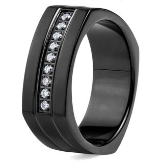 Crucible Blackplated Stainless Steel Square Shape with Cubic Zirconia Stones Ring - Black