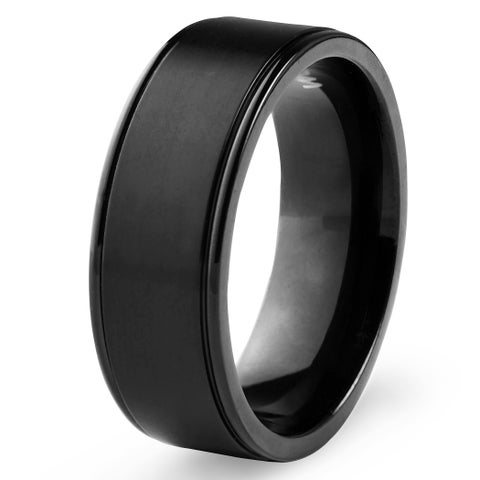 Men's Black Plated Titanium Brushed Finish Ring