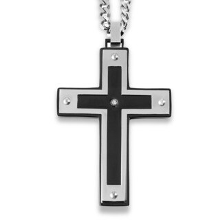Crucible Blackplated Stainless Steel Framed Screw Accents with Cubic Zirconia Cross Pendant