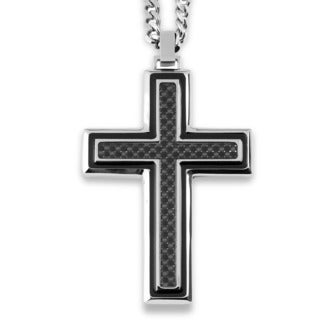 Crucible Stainless Steel Framed Black Carbon Fiber Inlay Cross Pendant