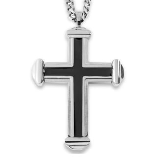 Crucible Stainless Steel Black Enamel Cross Pendant