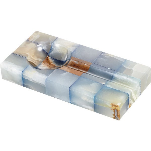 Bleu Onyx Rectangular Cigar Ashtray with Single Cigar Rest