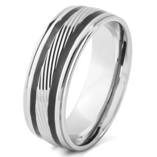 Men's Stainless Steel Diagionally Grooved with Two Black Enamel Stripes Band Ring