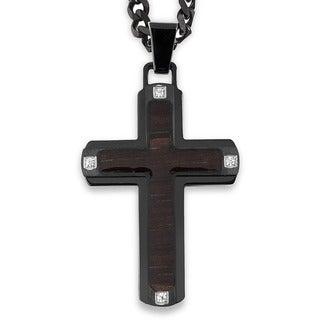 Crucible Blackplated Stainless Steel Dark Wood Inlay with Cubic Zirconia Cross Pendant