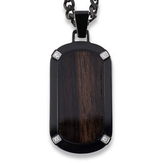 Crucible Blackplated Stainless Steel Dark Wood Inlay with Cubic Zirconia Dog Tag Pendant