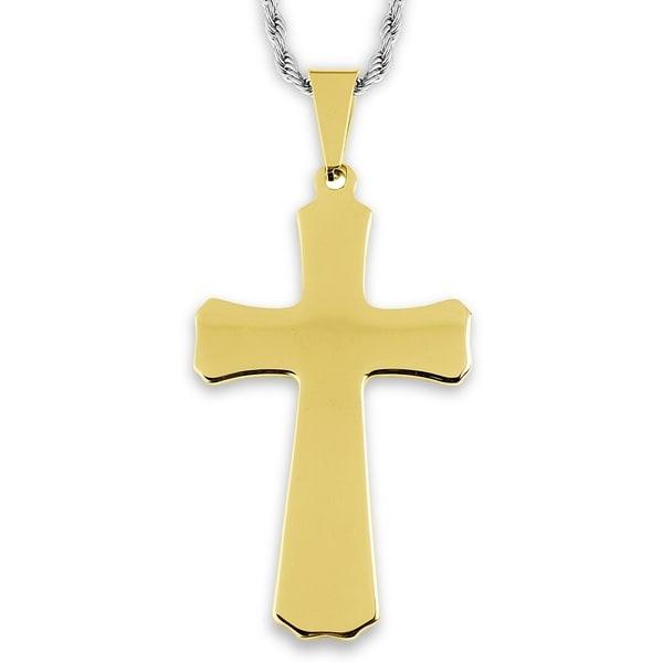 Stainless Steel Tapered Cross Pendant