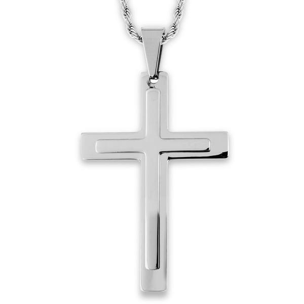 Layered Stainless Steel Cross Pendant