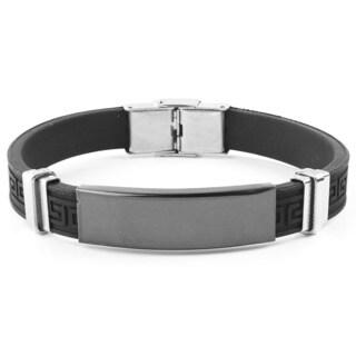 Men's Black Plated Stainless Steel Tribal Rubber Inlay Bracelet