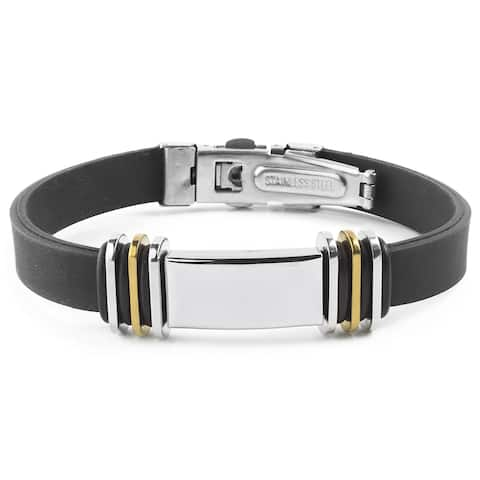 Men's Stainless Steel with Two-tone Accents Rubber ID Bracelet - Black