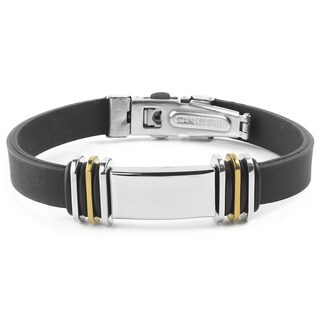 Men's Stainless Steel with Two-tone Accents Rubber ID Bracelet