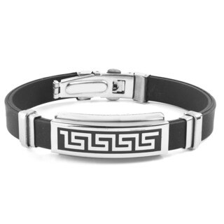 Men's Stainless Steel Tribal Maze ID Rubber Bracelet