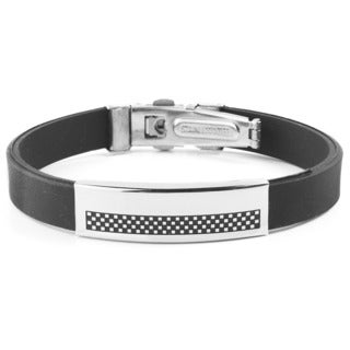 Men's Stainless Steel Checkered ID Plate Rubber Bracelet