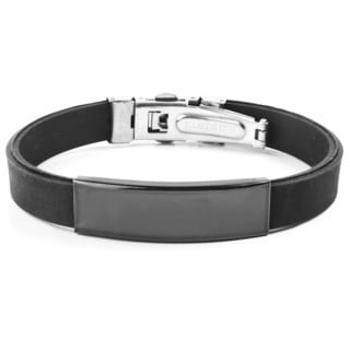 Men's Blackplated Stainless Steel ID Black Rubber Bracelet