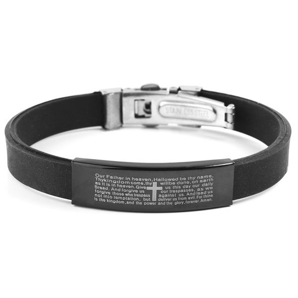 Men's Blackplated Stainless Steel Lord's Prayer ID Plate Rubber Bracelet
