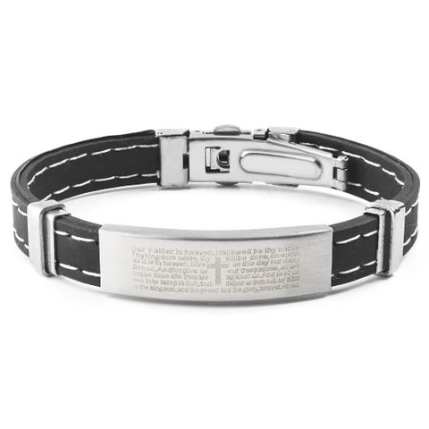 Men's Stainless Steel Lord's Prayer ID Plate Rubber Bracelet