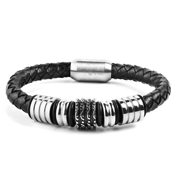 Crucible Stainless Steel Grooved Wavy Beaded Black Leather Bracelet