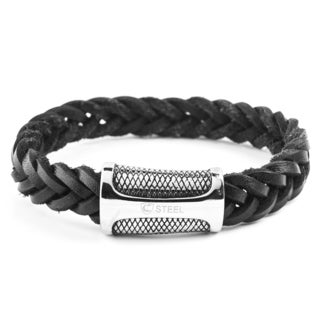 Crucible Stainless Steel Braided Black Leather with Diamond Textured Closure Bracelet