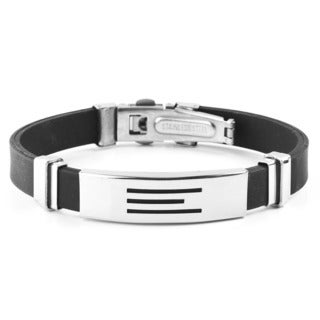 Men's Stainless Steel Textured Rubber ID Bracelet