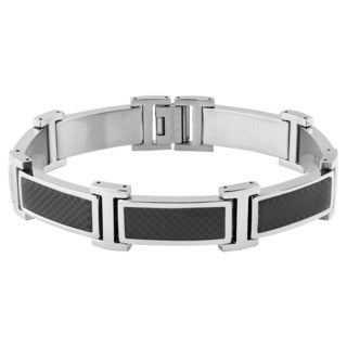 Crucible Stainless Steel Black Carbon Fiber Inlay Link Bracelet