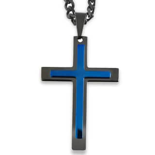 Men's Blackplated and Bluetone Layer Cross Pendant|https://ak1.ostkcdn.com/images/products/10371780/P17478181.jpg?impolicy=medium