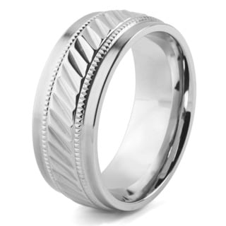 Men's Stainless Steel Grooved Milgrain Band Ring