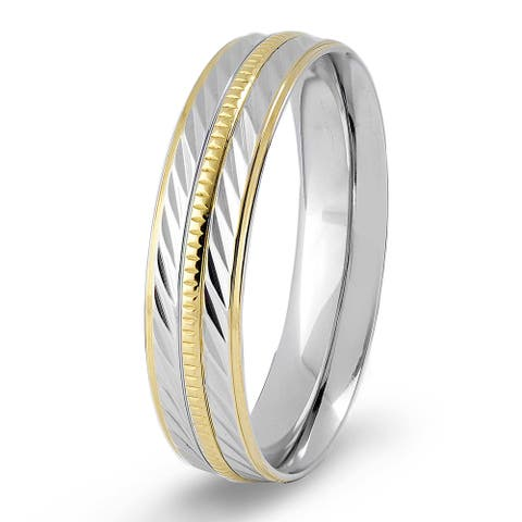 Crucible Two-tone Stainless Steel Textured and Grooved Ring - White