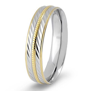Crucible Two-tone Stainless Steel Textured and Grooved Ring - Silver