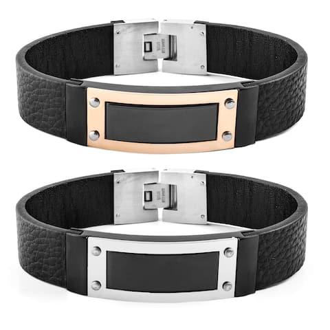 Crucible Stainless Steel Framed ID Black Leather Bracelet