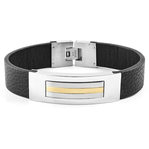 Two-Tone Stainless Steel Black Leather ID Bracelet