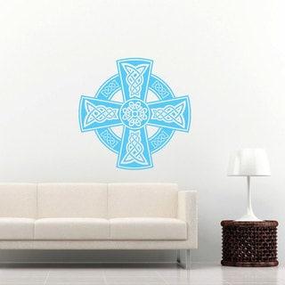 Celtic Cross Blue Vinyl Sticker Wall Art
