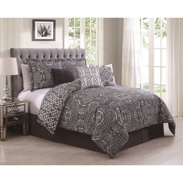 Minka Grey/ Purple 7-piece Reversible Comforter Set