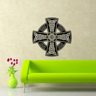 Round Celtic Cross Black Vinyl Sticker Wall Art