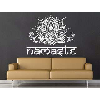 Mandala Namaste Lotus Flower White Vinyl Sticker Wall Art