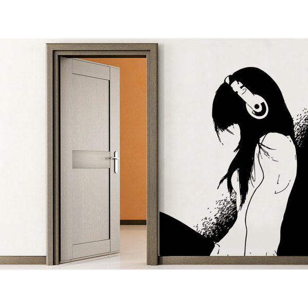 Shop Anime Manga Hot Girl Headphones Black Vinyl Sticker -5061