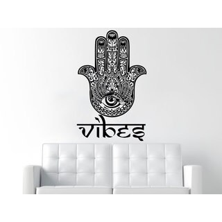 Yoga Decor Hamsa Vibes Black Vinyl Sticker Wall Art