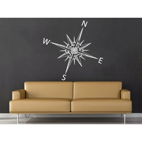 Compass Rose Nautical Decor White Vinyl Sticker Wall Art