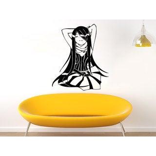 Anime Girl Black Vinyl Sticker Wall Art