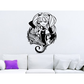 Dragon Girl Black Vinyl Sticker Wall Art