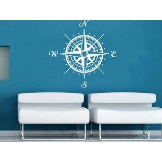 Stylish Compass Rose Nautical Decor White Vinyl Sticker Wall Art