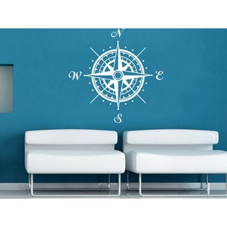 Stylish Compass Rose Nautical Decor White Vinyl Sticker Wall Art