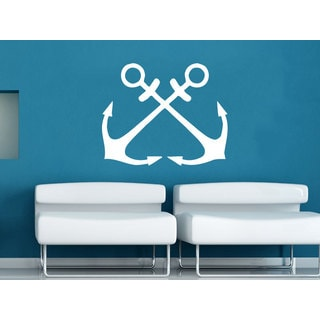 Two Anchors Nautical Decor White Vinyl Sticker Wall Art