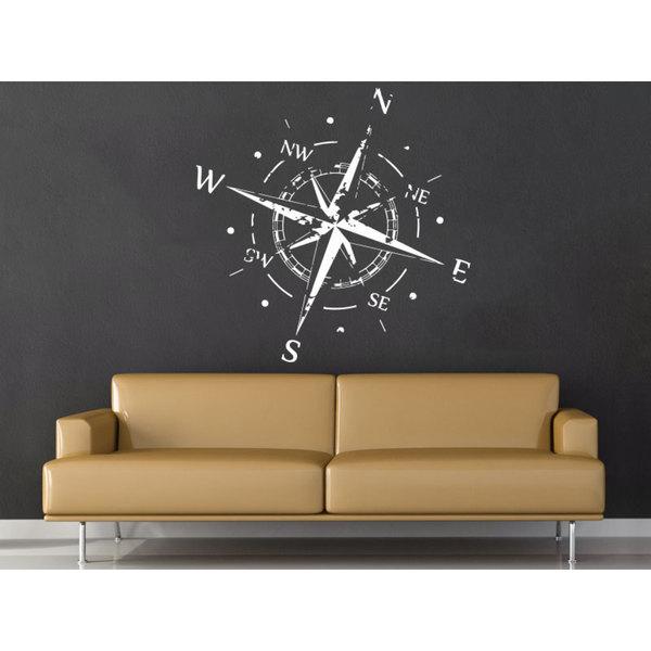 Nautical Decor White Compass Vinyl Sticker Wall Art