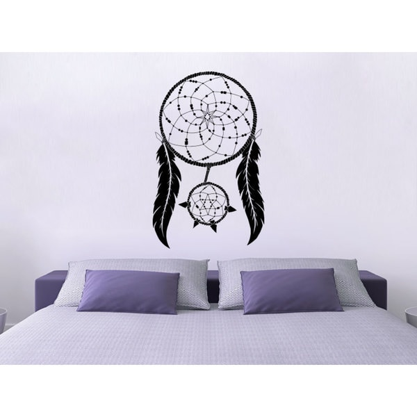 Round Dreamcatcher With Feathers Night Symbol Black Vinyl Sticker Wall Art