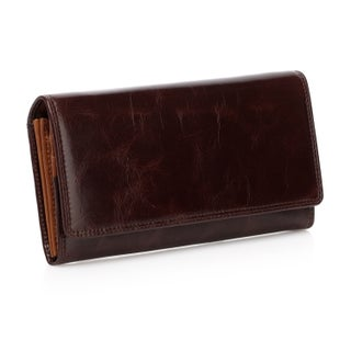 Vicenzo Leather Pelomas Distressed Leather Trifold Womens Coin Purse - Brown (Option: Expresso)