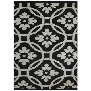 Hand-woven Makamani Abstract Wool Black Rug (2' x 3')