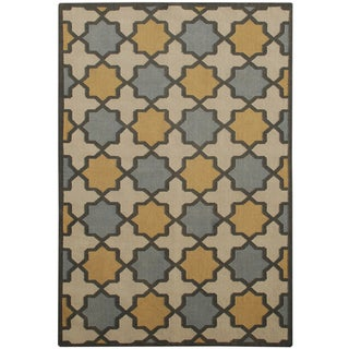 Hand-woven Makamani Abstract Wool Beige Rug (5' x 8')