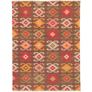 Hand-woven Makamani Abstract Wool Multi-colored Rug (5' x 8')