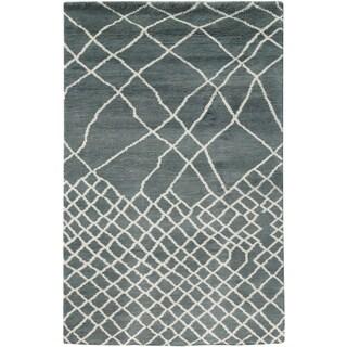 Hand-woven Morracon Abstract Wool Grey Rug (5' x 8')