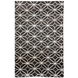 Hand-woven Nomad Abstract New Zealand Wool Grey Rug (5' x 8')