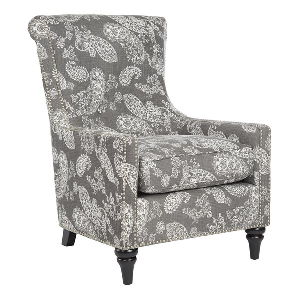 Genial Handy Living Lana Vintage Washed Charcoal Paisley Arm Chair